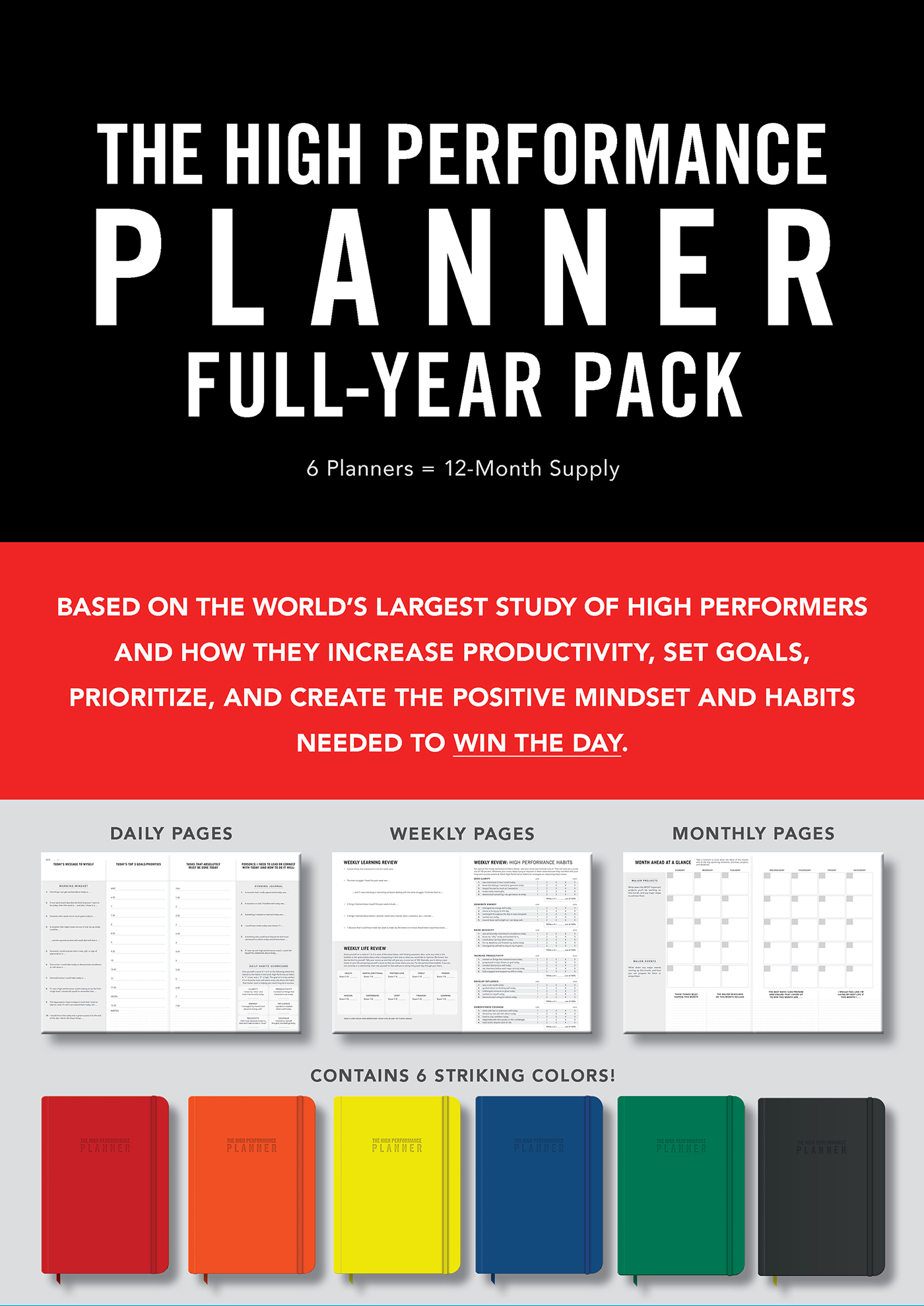 High Performance Planner Full-Year Pack 6 Planners = 12-Month Supply  by Brendon Burchard