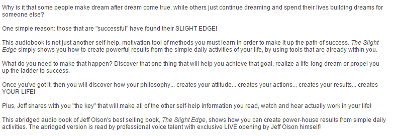 Slight Edge Eighth Anniversary Edition paperback by Jeff Olson FEEDBACK.PNG